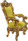 Furniture , A Large French Baroque-Style Carved, Gilt, and Silvered Wood Figural Throne Chair, late 19th century. 53 x 31 x 34 inches (1...