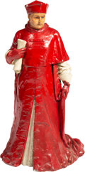Decorative Arts, Continental, A Large Continental Painted Plaster Figure of a Cardinal. 37 x 18 x18 inches (94.0 x 45.7 x 45.7 cm). ...