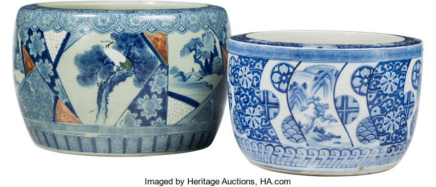 Asian Anese Two Large Blue And White Porcelain Hibachi Pots 20thcentury
