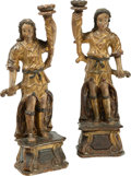 Decorative Arts, Continental:Other , A Pair of Spanish Colonial Polychromed and Giltwood Figura...