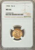 Liberty Quarter Eagles: , 1900 $2 1/2 MS66 NGC. NGC Census: (109/39). PCGS Population: (85/19). MS66. Mintage 67,000. ...