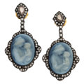 Estate Jewelry:Earrings, Diamond, Hardstone Cameo, Gold, Silver Earrings. ...