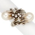 Estate Jewelry:Rings, Diamond, Cultured Pearl, White Gold Ring. ...