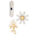 Estate Jewelry:Brooches - Pins, Diamond, Sapphire, South Sea Cultured Pearl, Gold Brooches. ...(Total: 3 Items)