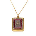 Estate Jewelry:Pendants and Lockets, Diamond, Synthetic Pink Spinel, Pendant-Locket, Gold Necklace. ...