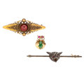Estate Jewelry:Brooches - Pins, Diamond, Multi-Stone, Cultured Pearl, Gold, Base Metal Brooches. ... (Total: 3 Items)