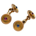 Estate Jewelry:Cufflinks, Ruby, Sapphire, Gold Cufflinks. ...