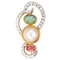 Estate Jewelry:Brooches - Pins, Diamond, Multi-Stone, Mabe Pearl, Gold Brooch. ...
