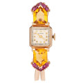 Estate Jewelry:Watches, Rubros Lady's Ruby, Citrine, Rose Gold Watch. ...