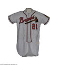 Baseball Collectibles:Uniforms, 1954 Warren Spahn Game Worn Jersey. He's the number six man on the career wins ladder, and figures to remain as such unless...
