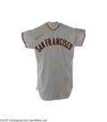 Baseball Collectibles:Uniforms, 1960 Juan Marichal Game Worn Rookie Jersey. Count us among the collectors that think that it just doesn't get any better th...