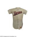 Baseball Collectibles:Uniforms, 1971 Minnesota Twins Game Worn Jersey. Tough flannel jersey is the same style worn by Hall of Famers Carew and Killebrew, t...