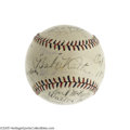 Autographs:Baseballs, 1920's Babe Ruth & Silent Movie Stars Signed Baseball. Thisstunning Golden Age jewel is encrusted with silver screen legend...