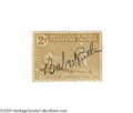 Autographs:Others, 1942 Babe Ruth Signed Postage Stamp. An intriguing piece derivingfrom the famous collection of Albert Edward Kelly, an ear...