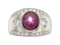 Estate Jewelry:Rings, Star Ruby, Diamond, Platinum Ring . ...