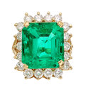 Estate Jewelry:Rings, Colombian Emerald, Diamond, Gold Ring . ...