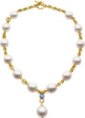 Estate Jewelry:Necklaces, South Sea Cultured Pearl, Sapphire, Gold Necklace, Verdura . ...