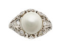 Estate Jewelry:Rings, Art Deco Natural Pearl, Diamond, Platinum Ring . ...