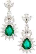 Estate Jewelry:Earrings, Colombian Emerald, Diamond, White Gold Earrings . ...