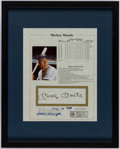 Autographs:Photos, Mickey Mantle Signed, Framed Stat Sheet. . ...