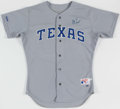 Baseball Collectibles:Uniforms, 1990 Jeff Russell Texas Rangers Signed Team Issued Jersey....