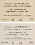 Political:Small Paper (1896-present), John F. Kennedy: Ft. Worth Breakfast Tickets.... (Total: 2 Items)