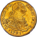 Colombia, Colombia: Charles IV gold 8 Escudos 1791 P-SF AU53 NGC,...