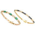 Estate Jewelry:Bracelets, Diamond, Sapphire, Emerald, Gold Bracelets. ... (Total: 2 Items)