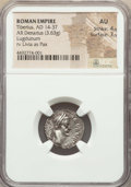 Ancients:Roman Imperial, Ancients: Tiberius (AD 14-37). AR denarius (18mm, 3.63 gm, 1h). NGCAU 4/5 - 3/5. ...