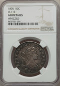 Early Half Dollars, 1805 50C O-112, T-2, R.2 -- Whizzed -- NGC Details. AU.