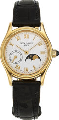 Estate Jewelry:Watches, Patek Philippe Lady's Gold Calatrava Moon Phase Watch. ...