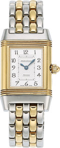 Estate Jewelry:Watches, Jaeger LeCoultre Lady's Diamond, Mother-of-Pearl, Reverso Duo Gold,Stainless Steel Watch. ...