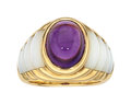 Estate Jewelry:Rings, Amethyst, Mother-of-Pearl, Gold Ring, Mauboussin, French. ...
