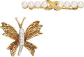 Estate Jewelry:Brooches - Pins, Diamond, Cultured Pearl, Platinum, Gold Brooches, Tiffany & Co. . ... (Total: 2 Items)