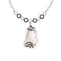 Estate Jewelry:Necklaces, Colored Diamond, Diamond, Freshwater Cultured Pearl, White Gold Necklace. ...