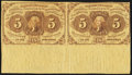 Fractional Currency:First Issue, Fr. 1230 5¢ First Issue Horizontal Uncut Pair Very Fine.. ...