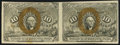 Fractional Currency:Second Issue, Fr. 1245 10¢ Second Issue Horizontal Uncut Pair Extremely Fine.. ...