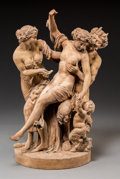 Ceramics & Porcelain, A French Sevres Terracotta Bacchanal Group Depicting Satyr and Faun, late 18th-early 19th century. Marks: (Sevres mark), 33,...