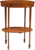 Furniture : English, An Edwardian Adam-Style Paint-Decorated Satinwood Side Table, late 19th century. 29-1/4 x 22-1/4 x 16 inches (74.3 x 56.5 x ...