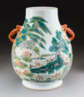 Asian:Chinese, A Chinese Enameled Porcelain Hundred Deer Hu Vase, Republic Period,circa 1912-1949. Marks: Six-character Qianlong ...