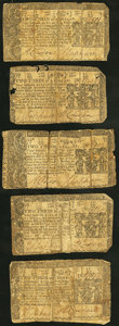 Colonial Notes:Maryland, Maryland March 1, 1770 $2/3 Very Good. Five Examples.. ... (Total:5 notes)