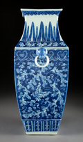 Asian:Chinese, A Chinese Blue and White Porcelain Squared Vase, Qing Dynasty, 19thcentury. 15-1/4 inches high (38.7 cm). ...