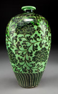 Asian:Chinese, A Chinese Green Glazed Cizhou-Type Meiping Vase with Peony Motif.12 inches high (30.5 cm). ...