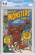 Bronze Age (1970-1979):Science Fiction, Where Monsters Dwell #6 (Marvel, 1970) CGC NM 9.4 Off-white to white pages....