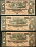 Confederate Notes:1864 Issues, T68 $10 1864. Three Examples. . ... (Total: 3 notes)