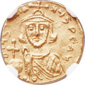 Ancients:Byzantine, Ancients: Justinian II, first reign (AD 685-695). AV semissis(16mm, 2.13 gm, 7h). NGC AU 4/5 - 4/5, clipped....