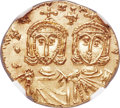 Ancients:Byzantine, Ancients: Constantine V Copronymus (AD 741-775) with Leo IV and LeoIII. AV solidus (20mm, 3.85 gm, 6h). NGC MS 4/5 - 5/5....