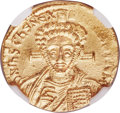 Ancients:Byzantine, Ancients: Justinian II Rhinotmetus, second reign (AD 705-711). AVsolidus (19mm, 4.44 gm, 6h). NGC MS 4/5 - 4/5....