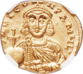 Ancients:Byzantine, Ancients: Leo III, the Isaurian (AD 717-740). AV solidus (20mm,4.50 gm, 6h). NGC Choice MS 4/5 - 5/5....