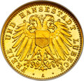 German States: Lübeck. Free City gold Proof 10 Mark 1905-A PR66 NGC